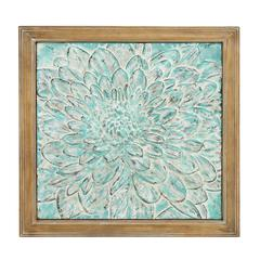 Metal Wood Floral Wall Plaque