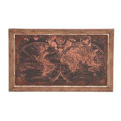 Benzara Fascinating Styled Wood Wall Art Map