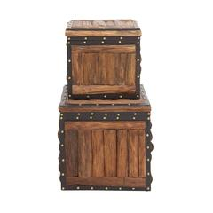 The Stunning Set Of 2 Wood Leather Trunk