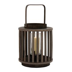 Benzara Lining Designed Striking Wood Glass Lantern
