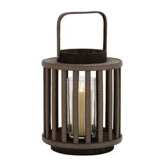 Benzara Unique And Attractive Round Shaped Wood Glass Lantern