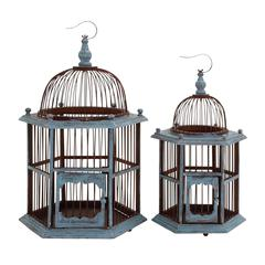 Benzara The Rustic Set Of 2 Wood Birdcage