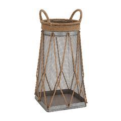 Customary Styled Classy Metal Jute Basket