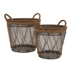 The Cool Set Of 2 Metal Burlap Basket