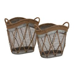 The Cool Set Of 2 Metal Burlap Basket