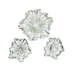Benzara Set Of 3 Silver Floral Wall Plaque