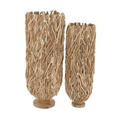 Benzara Classy Driftwood Flower Vase Set Of 2