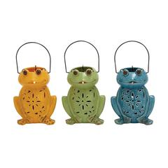 Contemporary Styled Ceramic Frog Lantern 3 Assorted