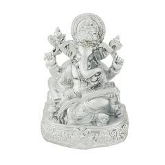 Benzara Divine And Wonderful Silver Ganesh Figurine