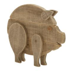 "Enthralling Wood Pig 17""W, 15""H"