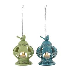 Benzara Artistic Ceramic Metal Bird Feeder 2 Assorted