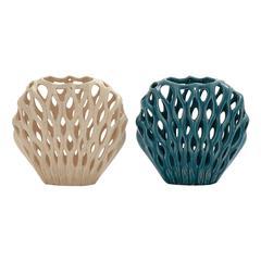Benzara Unique Ceramic Shell Vase 2 Assorted