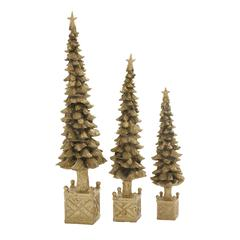Benzara Fascinating Xmas Tree Set Of 3