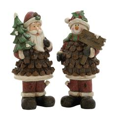 Benzara Vividly Crafted 2 Assorted Santa Snowman