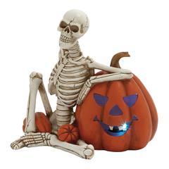Benzara Led Skeleton With Pumpkin Décor