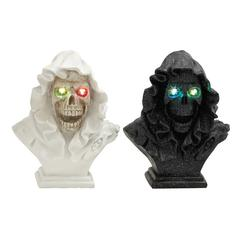 Benzara Set Of 2 Spooky Led Skull Busts With Cape