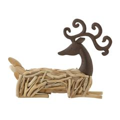 "Benzara Astounding Wood Metal Sitting Deer 20""W, 15""H"