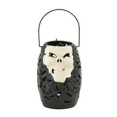 Benzara Chillingly Cool Ceramic Skull Lantern