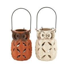 Benzara Arty Ceramic Owl Lantern 2 Assorted