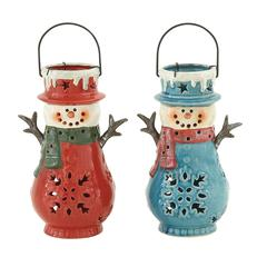 Benzara Novel Ceramic Snowman Lantern 2 Assorted