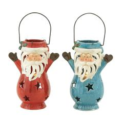 Benzara Cool Ceramic Santa Lantern 2 Assorted