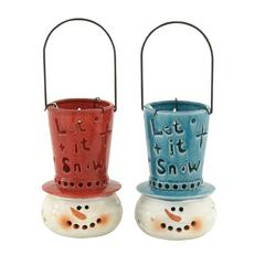 Lovely Ceramic Snowman Lantern 2 Assorted