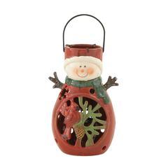 Fun Ceramic Metal Snowman Lantern