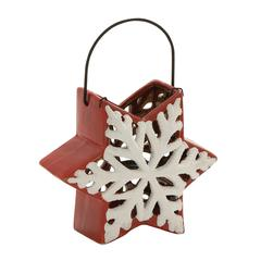 Benzara Lovely Ceramic Metal Snowflake Lantern