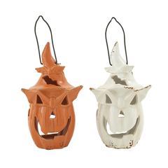 Benzara Spooky Ceramic Jack-O-Lantern 2 Assorted