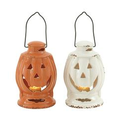Benzara Fascinating 2 Assorted Ceramic Halloween Lantern