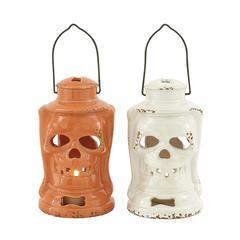 Benzara Unmissable Ceramic Skull Lantern 2 Assorted