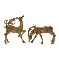 Benzara Charming Set Of 2 Deer Statue