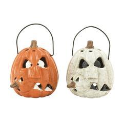 Benzara Ceramic Pumpkin Lantern 2 Assorted