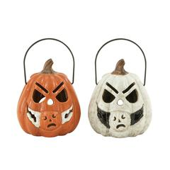 Benzara Ingenious Ceramic Pumpkin Lantern 2 Assorted