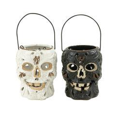 Supreme Ceramic Skull Lantern 2 Assorted