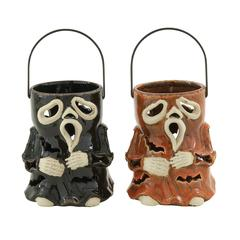 Benzara Entrancing 2 Assorted Ceramic Halloween Lantern