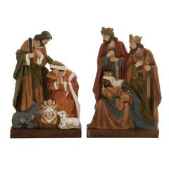 Grandiose Set Of 2 Holy Family Statue