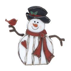 Benzara Adorable Wood Carved Snowman