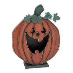 Wooden Carved Smiley Pumpkin Decor
