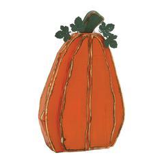 "Benzara Simple Orange Wood Metal Pumpkin 16""W, 25""H"