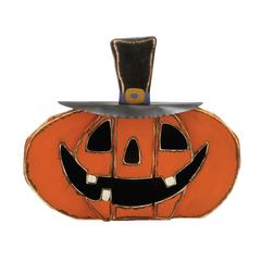"Scary, Smiling Wood Metal Pumpkin Face 30""W, 25""H"