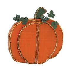 "Benzara Simple Orange Wood Metal Pumpkin 19""W, 20""H"