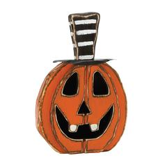 "Scary Wood Metal Pumpkin Face 16""W, 24""H"