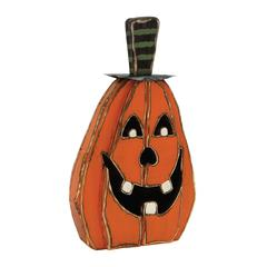 "Creepy Wood Metal Pumpkin Face 16""W, 28""H"