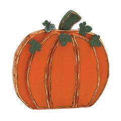 "Benzara Orange Wood Metal Pumpkin 20""W, 20""H"