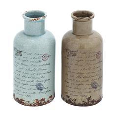 Benzara Ceramic Vase In Soft Speckled Natural-Grey And Chestnut Color