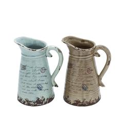 Benzara Ceramic Pitcher With Strong Built & Intricate Aesthetic Detailing