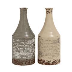 Set Of 2 Antique Themed Classy Ceramic Vases