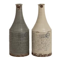 Set Of 2 Unique And Vintage Themed Classy Ceramic Vases