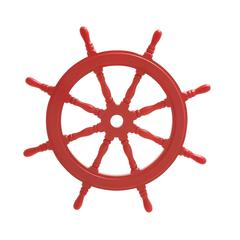 Red Polished Attractive Wood Ship Wheel